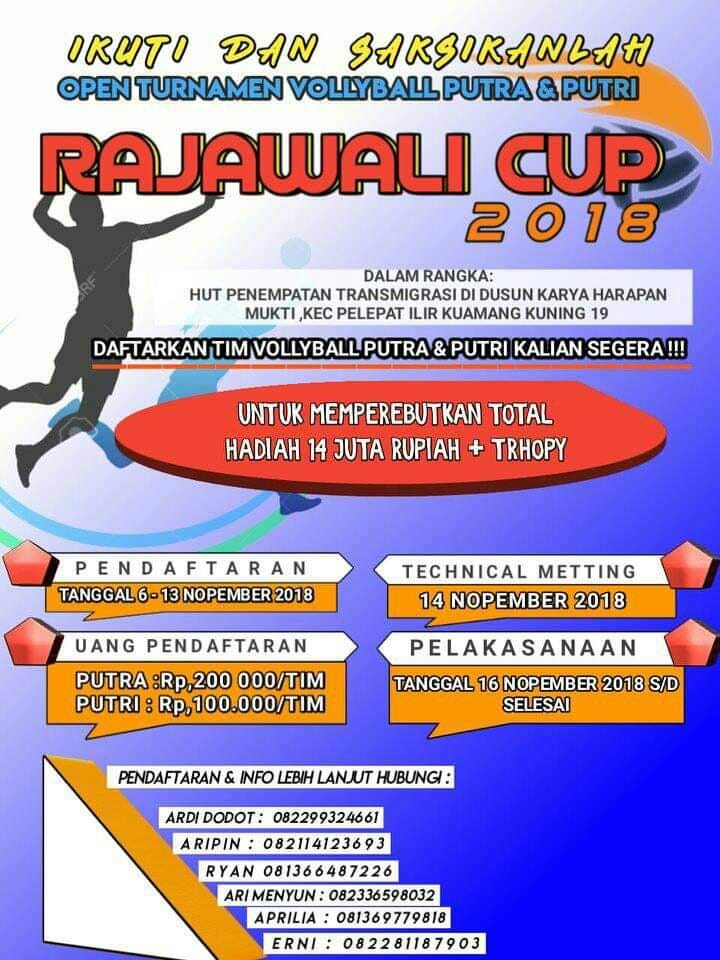 OPEN TOURNAMENT RAJAWALI CUP 2018